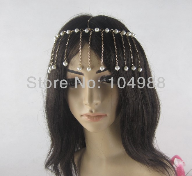 FREE SHIPPING 2014 STYLE H11 WOMEN FASHION IMITATION PEARLS GOLD COLOUR CHAIN HAIR JEWELRY