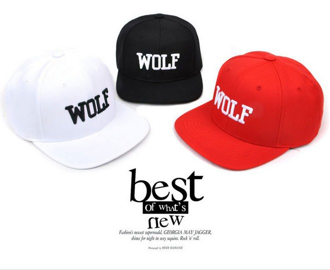 New!Short brim solid color wolf unisex baseball caps men women fashion casual hip-hop flat cap snapback hat dropshiping