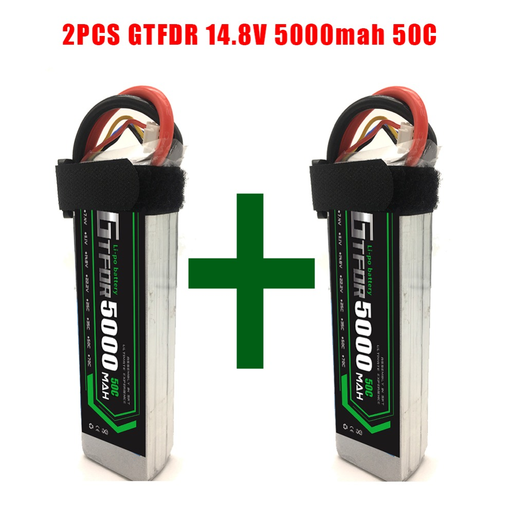 2pcs 4s 14.8v 5000mah 50c Gtfdr Lipo Battery For Remote Control Toys Rc Car Boat Truck Helicopter Airplane Drone Quadcopter