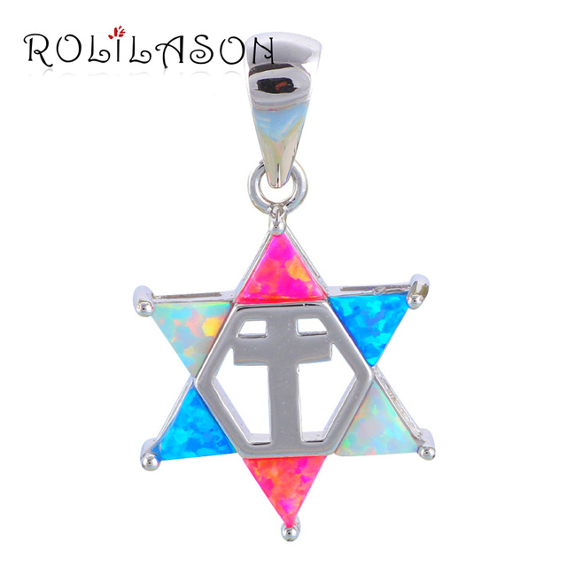 Hot selling color star of david fire opal silver stamped pendants hot selling color star of david fire opal silver stamped pendants fashion jewelry anniversary birthday gifts mozeypictures