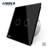 Free Shipping Black Crystal Glass Panel Livolo EU Standard Remote Switch 110 250V Wall Light Remote