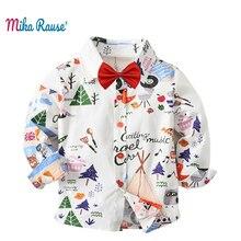 Купить с кэшбэком Fashion flower printed boy shirt long sleeve tops boys cotton shirts blouses Breathable kids children toddler shirt for 2-7years