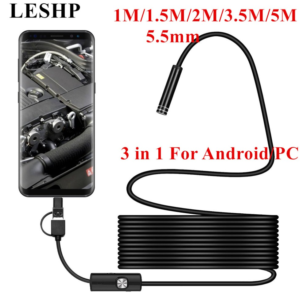 LESHP Micro USB Type-c USB 3-in-1 Computer Endoscope Android 5.5MM Borescope Tube Waterproof USB Inspection Video Camera free shipping 3 in 1 usb 3 1 type c usb c