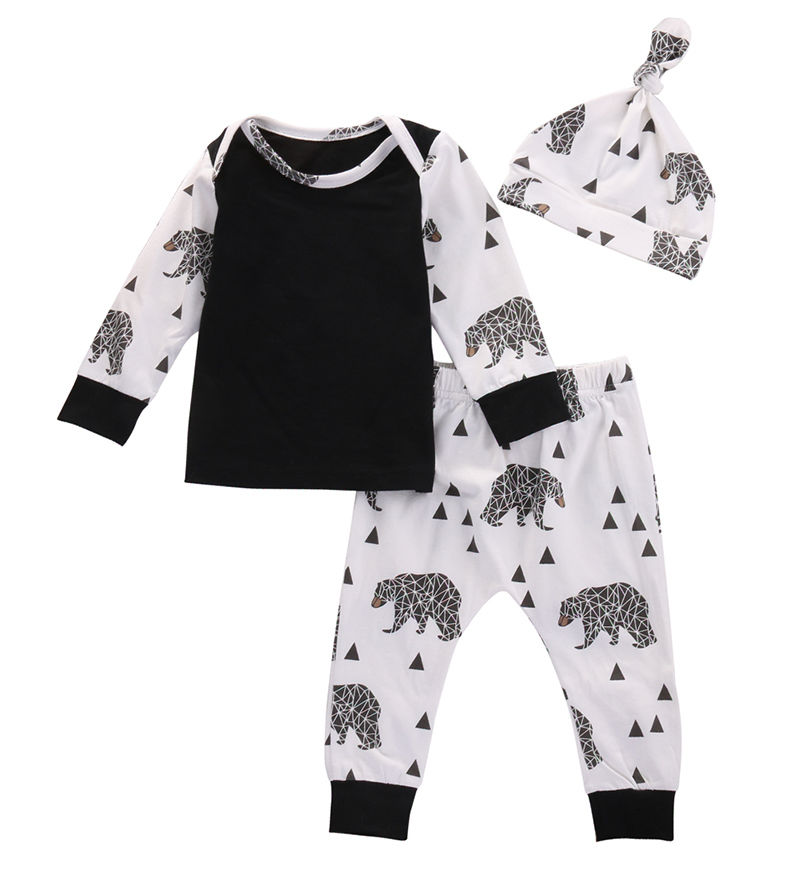 3pcs Newborn Baby Infant Boy Girls Bear T-shirt Top Pants Leggings Outfits Set Children Kids Boys Girl  Clothing New Arrival cute newborn baby boy girl clothes set bear cotton children clothing summer costume overalls outfits t shirt bib pants 2pcs set