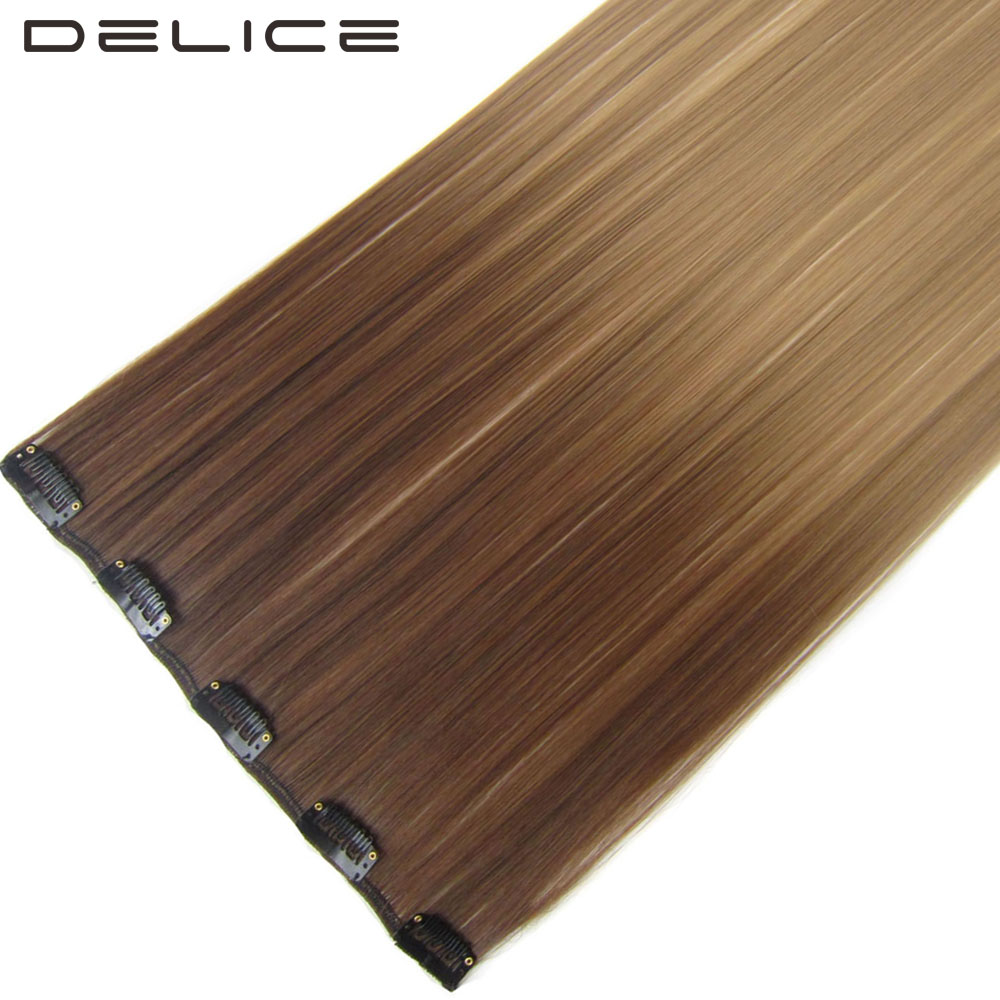 DELICE 22 inch הארוך ישר סינטטי Ombre קליפ של נשים חתיכה אחת 5 קליפים תוספות שיער, 50 גרם\יחידה