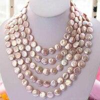 Новый Arriver Перл, длинные 100 дюймов 12 14 мм розовый монета пресноводного жемчуга Цепочки и ожерелья, ручной работы, подарок на день рождения для