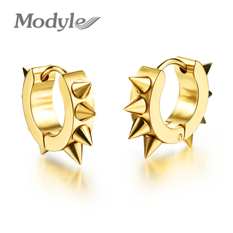 Modyle fashion hiphop small Stud earrings stainless steel punk black ear jewelry for women men accessories