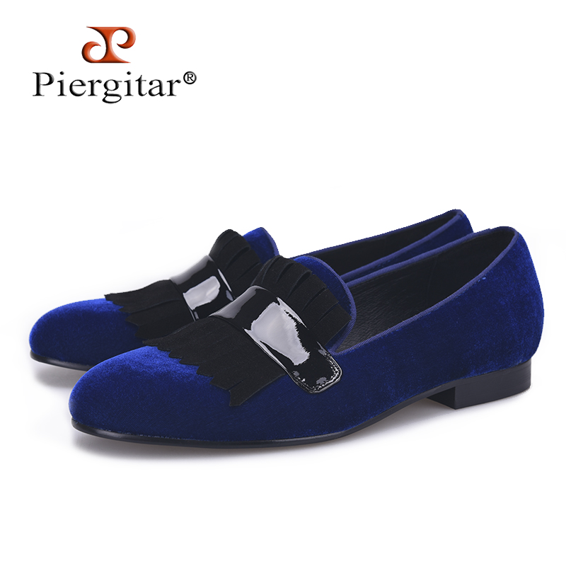Piergitar Handmade Three colors men velvet classic loafers with large suede fringed Fashion Party and Banquet