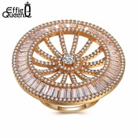Effie Queen Unique Design Gold Color Big Ring for Female Party with 311 Pieces Cubic Zircon Bijouterie Fashion Jewelry DDR05