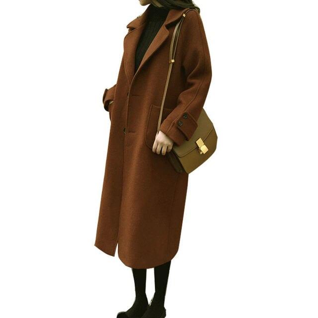 Plus Size 5XL 6XL Autumn New Wool Coat Women Manteau Femme Winter Coat Women Fashion Elegant Long Woolen Coat Warm Parka C4940