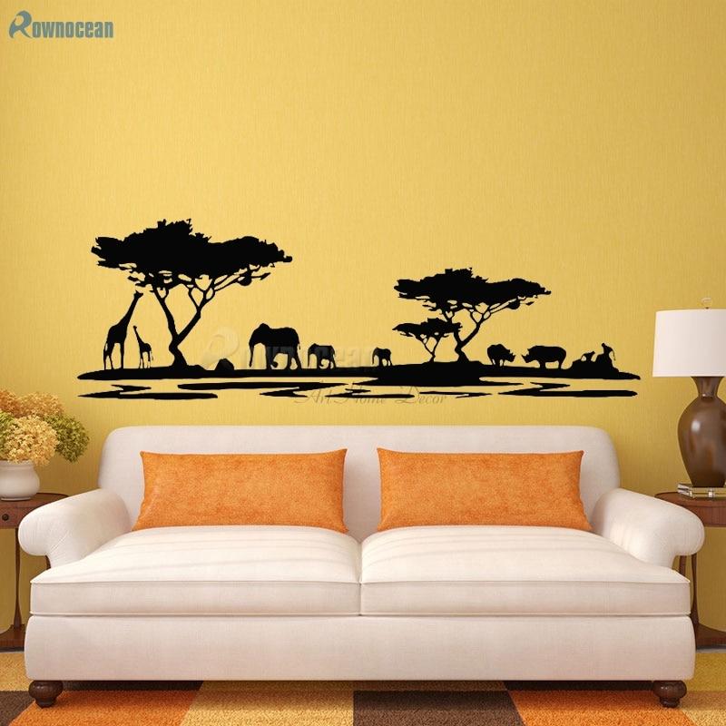 ⑦Large Size Giraffe Elephant Forest Tree Home Decor Living Room ...