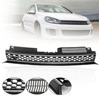 High Bar Black Silver Car Trim Mesh ABS Grille For Volkswagen Jetta GTI Golf MK6 2010 2014