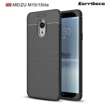 Litchi strip silicone case for Meizu 15 lite funda carcasa hoesje skal lychee leather tpu cover coque etui kryt tok