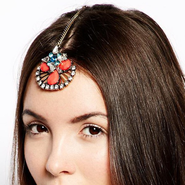 Fashion brand peacock orange blue rhinestone flower indian forehead