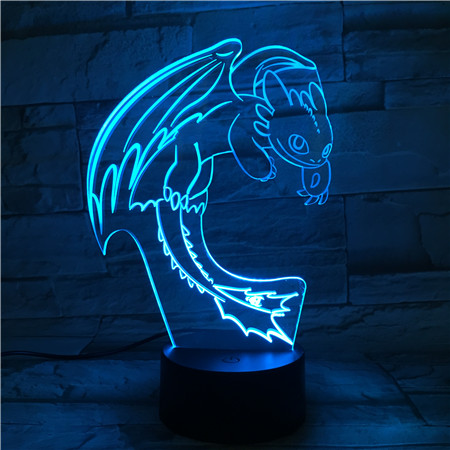 How To Train Your Dragon Night Light 3D LED Illusion USB Touch Sensor RGBW Child Kids Gift Night Fury Table Lamp Desk Decoration