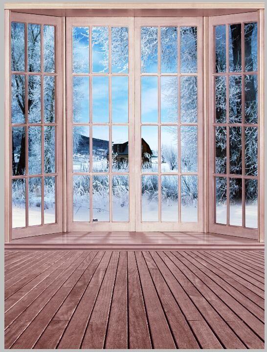 Photography Backdrop 200x250cm Bright Windows Dark Wood Floor Backdrops for Photo Studio Digital Printed Photo Background Cloth