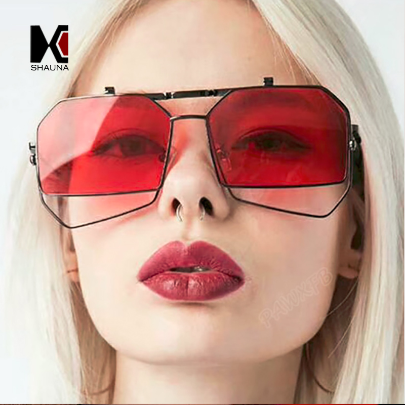 SHAUNA Unique Folding Steampunk Women Irregular Square Sunglasses Oversize Men Red/Clear Lens Punk Shades UV400