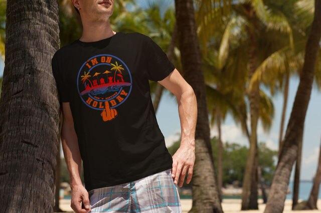 2019 Novos Homens Chegada de Moda Engraçado T-shirt Dos Homens Curto EU ESTOU de Férias Não Disturbe Camiseta Projeto