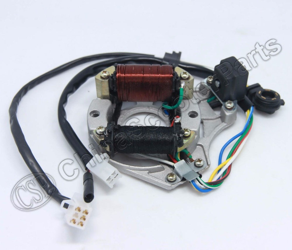 Magneto Stator Plate AC 2 Pole Ignition Coil 5 Wire Gear Readout 50CC 70CC 90CC 110CC 125CC Lifan ZongShen Kazuma Dirt Bike