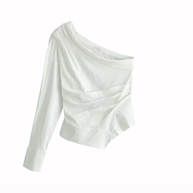 Women sexy one shoulder white blouse skew collar one sleeve irregular shirts female slim stylish tops blusas 6