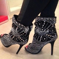 Punk Style Studded Boots Women Peep Toe Black Leather Rivets Womens Ankle Boots Shoes High Heels Women Banquet Dress Shoes