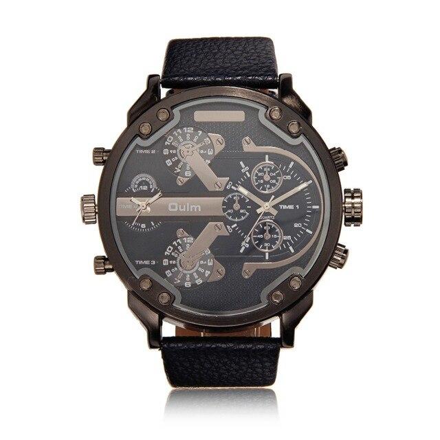 00dfe372d701 Moda hombres reloj dual time zone dial grande banda de cuero cuarzo Militar  Relogio masculino regalo