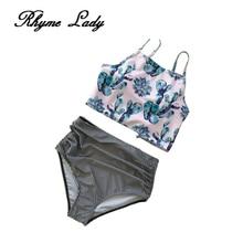 Фотография Rhyme Lady new bikini set off shoulder swimwear high waist swimsuits women print bathing suit cross backless beach wear