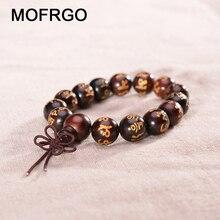 MOFRGO Rosewood Om מאני פאדמה Hum מנטרה תפילה חרוזים צמידי קסם טיבטי בודהיזם יוגה הגנה צמידי גברים נשים