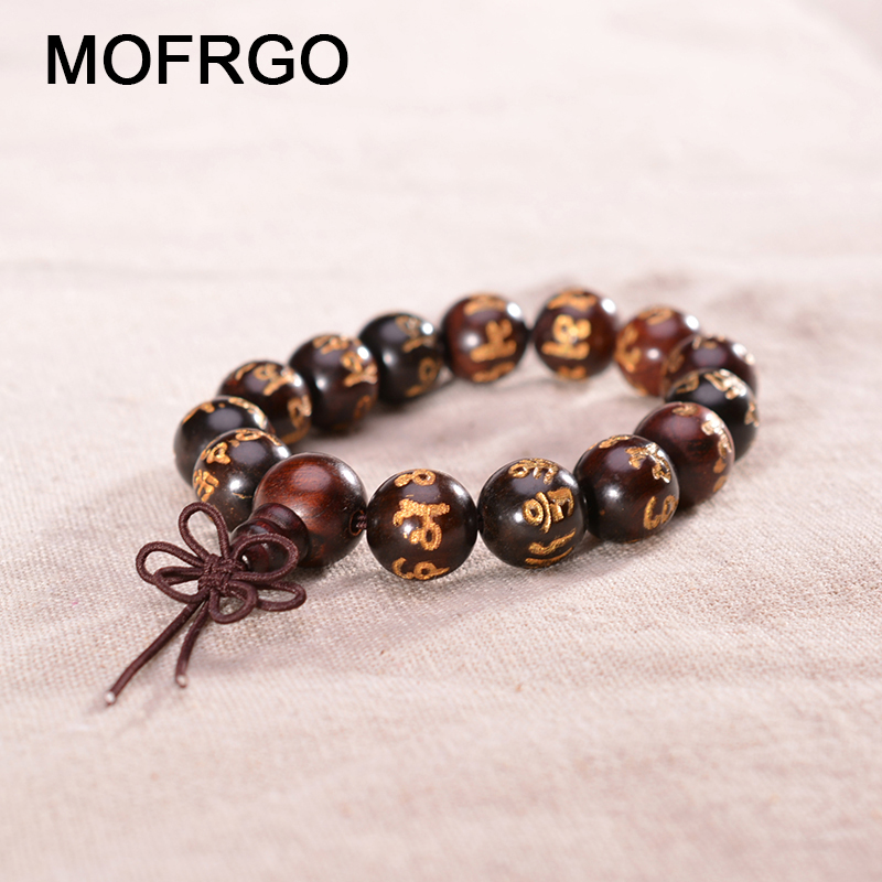 MOFRGO Rosewood Om Mani Padme Hum Mantra Prayer <font><b>Beads</b></font> <font><b>Bracelets</b></font> Charm Tibetan Buddhism Yoga Protection <font><b>Bracelets</b></font> for <font><b>Men</b></font> Women image