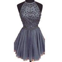 Новое Прибытие 2015 Элегантный Бисером Фиолетовый Homecoming Платье Короткое Бальные Платья Платья Коктейльные