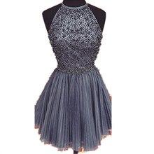 Neue Ankunft 2015 Elegante Perlen Lila Homecoming Kleid Kurze Party Kleider Kleider Cocktail