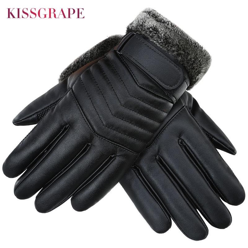 Neue Winter Touchscreen Wasserdichte PU Leder herren Warme Handschuhe Verdicken Fleece Outdoor Sport Ski Handschuhe Männlichen Motorrad Guantes
