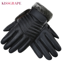New Winter Touch Screen Waterproof PU Leather Men's Warm Gloves Thicken Fleece Outdoor Sports Ski Gloves Male Motorcycle Guantes