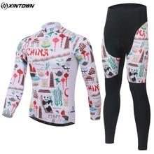 XINTOWN Mens Winter Cycling Clothing Bike Bicycle Ropa Ciclismo Full Zipper Cycling Jersey Long Sleeve Bib Pants Set