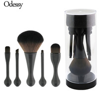 ODESSY Portable Makeup Brushes 5pcs High Quality Make Up Brush Set Cosmetics Holder Organizer Travel Plastic