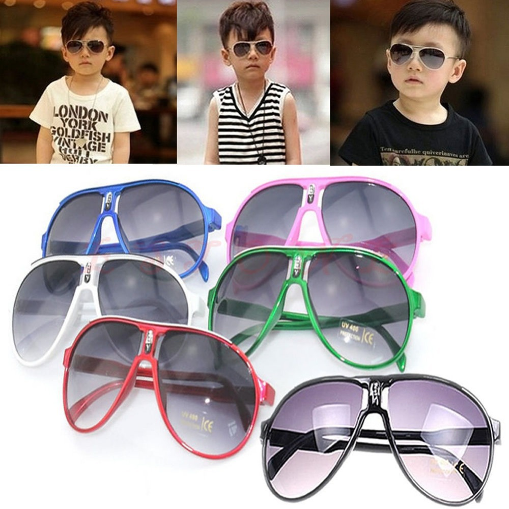 Free Shiping Fashion Cute Lovely Children Girl Boy Baby Kid AC Lens PC Frame UV400 Sunglasses
