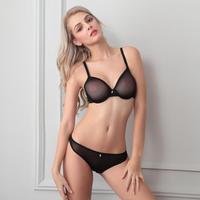 Black Transparent Gauze Sexy Bra With Panties Thin Bra Set Womens Sexy Lingerie Underwire Bra Transparent