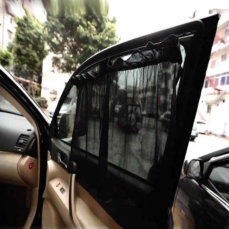 62164323177 2Pcs set New Black Mesh Fabric Car Auto Window Curtain Sunshade Set UV  Protection Side