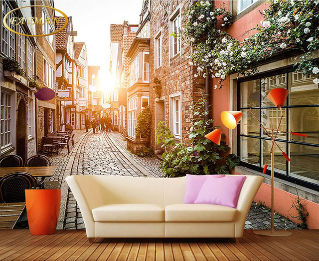 Custom Wallpaper 3D European Style Building City Street Photography Coffee Shop Bookstore Restaurant Living Room Thick