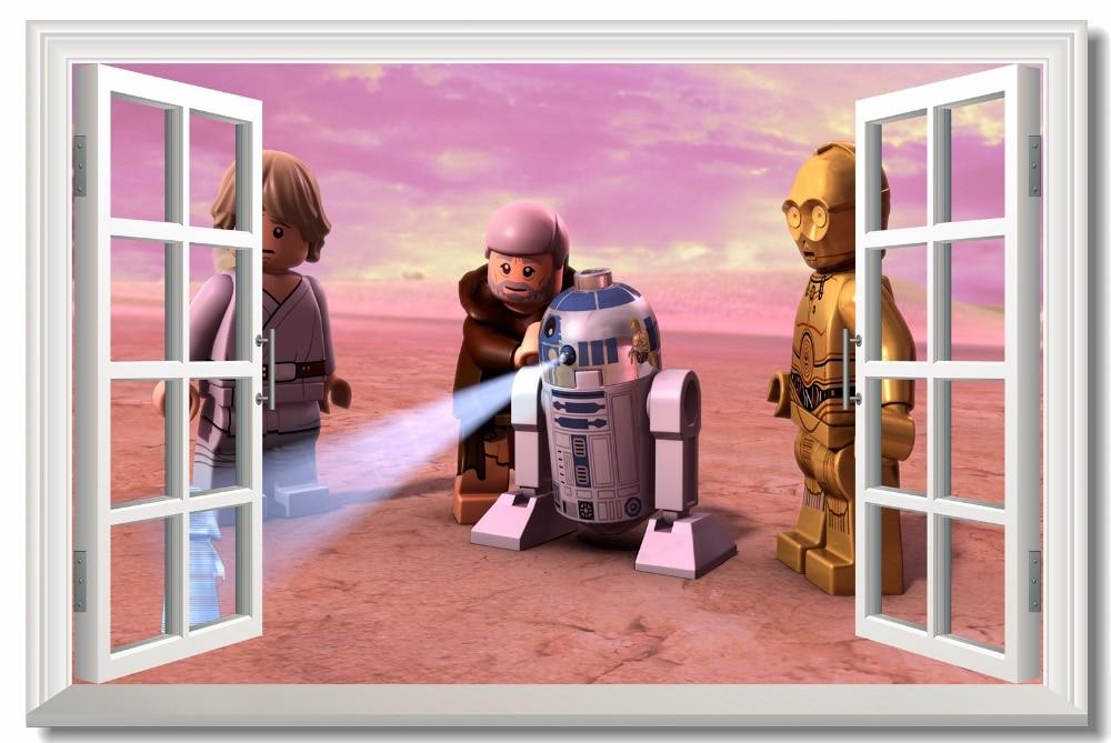 Custom Canvas Wall Painting Lego Star Wars Poster Darth Vader R2 3PO Lego Wallpaper 3D Window Wall Sticker Kid Room Decor #0778#