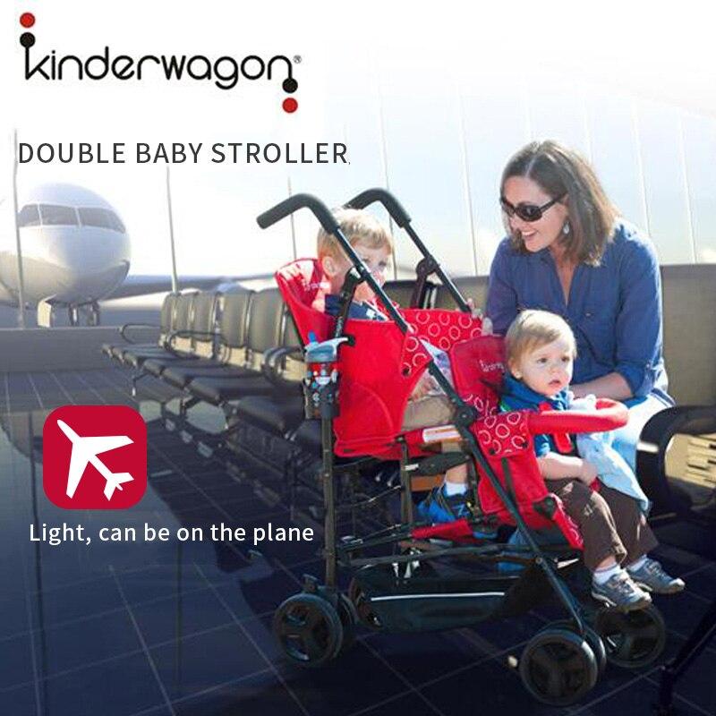 Kinderwagon doble cochecito de bebé grande plegable de La Luz, super luz gemelos bebé cochecito dos cochecito de bebé cochecito con asiento de coche