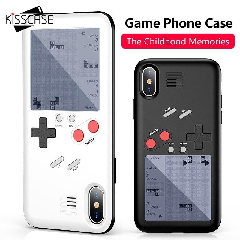 KISSCASE máquina de juego de funda de teléfono para iPhone X 6 6 S Plus funda negro Retro juego de consola para iPhone 7 8 Plus X tapa Fundas