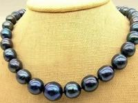 Hot Sale New Style 9 10mm Black Tahitian Cultured Pearl Necklace 17 AAAA