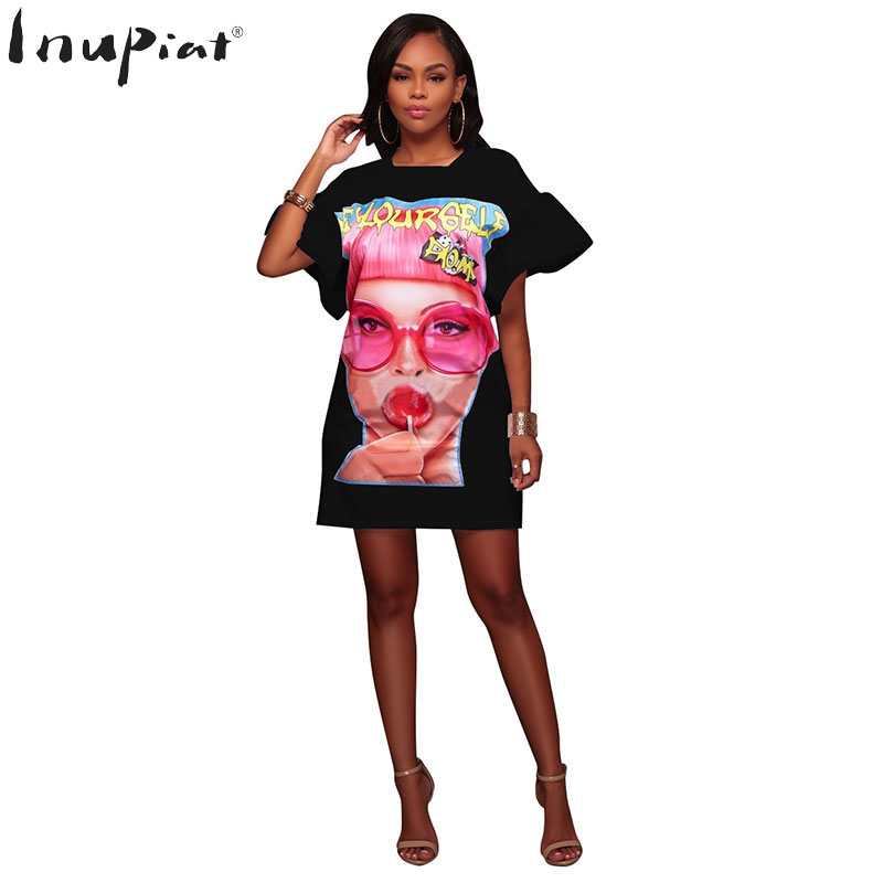 Plus Size Summer Tshirt Dress for Women Bohemia Style O-Neck Short Sleeves Character Print White Black Dresses for Ladies