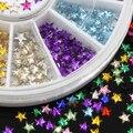 Popular 12 colores 3D estrella de cinco puntas Nail Art Salon Stickers Tips de bricolaje decoraciones belleza con rueda 67P1