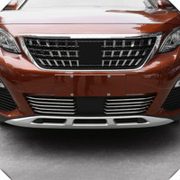 For Peugeot 3008 GT 2016 2017 10pcs/set Stainless steel Front bottom grille grill cover protector trim car tyling