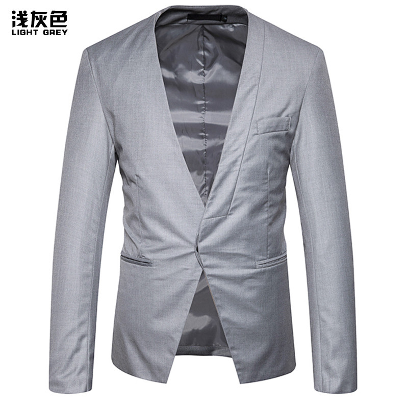 FUMUD Hot New Fashion Mens Party Round Collar Dark Buckle Casual Small Suit Jacket Jacket Business Casual Suit Jacket For Men