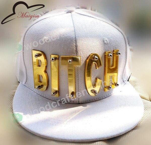 Mirror Acrylic Bitch Letters Fashion Men Women Sports Baseball Caps Studded Snapback Hats