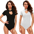 2017 Women Sexy Jumpsuits Bodysuits Solid Short Sleeve Bodycon Fitness Stretch Casual Playsuit One Piece Overalls Elastic Romper