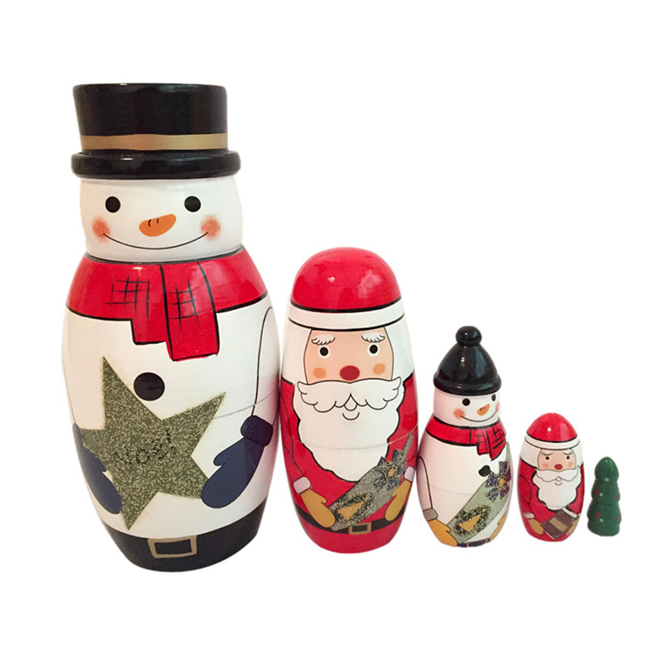 us $15.19 20% off|5pcs/set santa claus matryoshka wooden russian hand  painted nesting dolls handmade souvenirs toys with box for kids xmas  gift-in